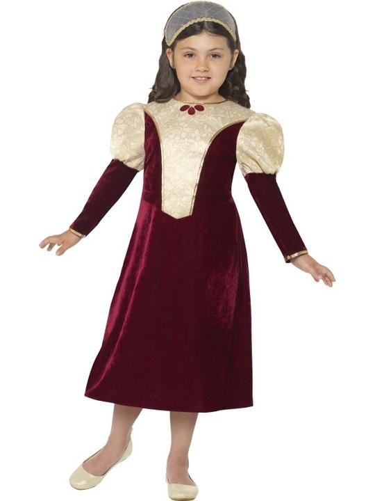 Girl's Tudor Damsel, Princess Fancy Dress Costume Thumbnail 1