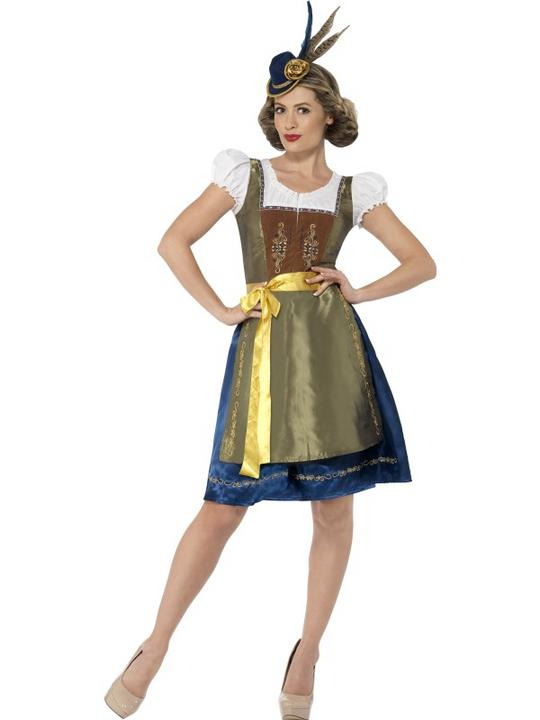 Traditional Deluxe Heidi Bavarian Girl Ladies Fancy Dress Costume Party Outfit Thumbnail 1
