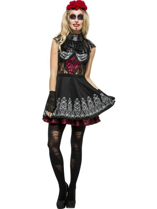 Women's Fever Day of the Dead Fancy Dress Costume Thumbnail 1