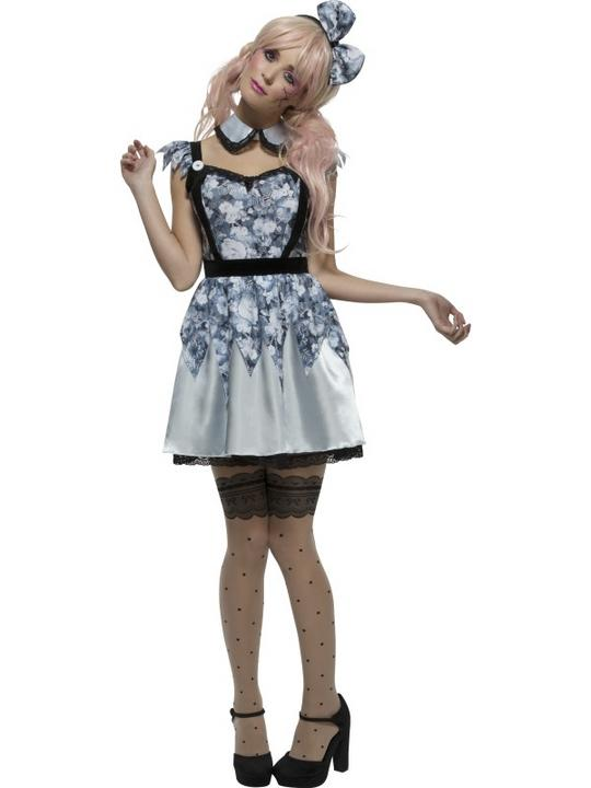 Womens Halloween Fever Broken Doll Annie Costume Ladies Fancy Dress Outfit Thumbnail 1