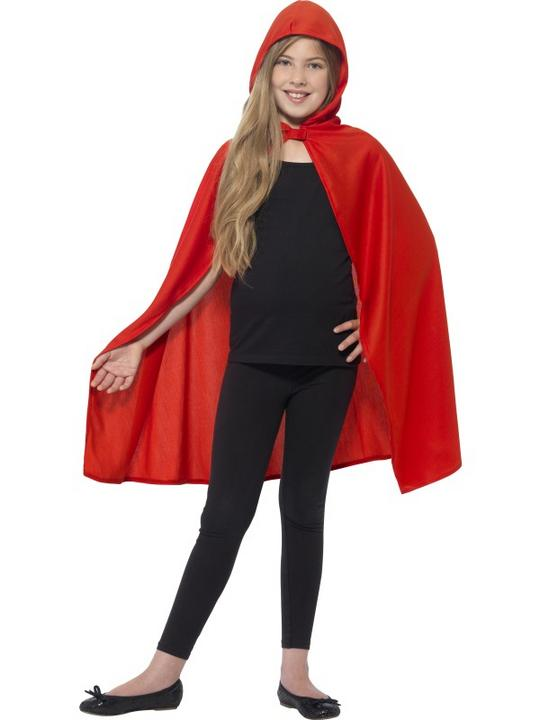 Hooded Cape Red Fancy Dress Costume Thumbnail 1