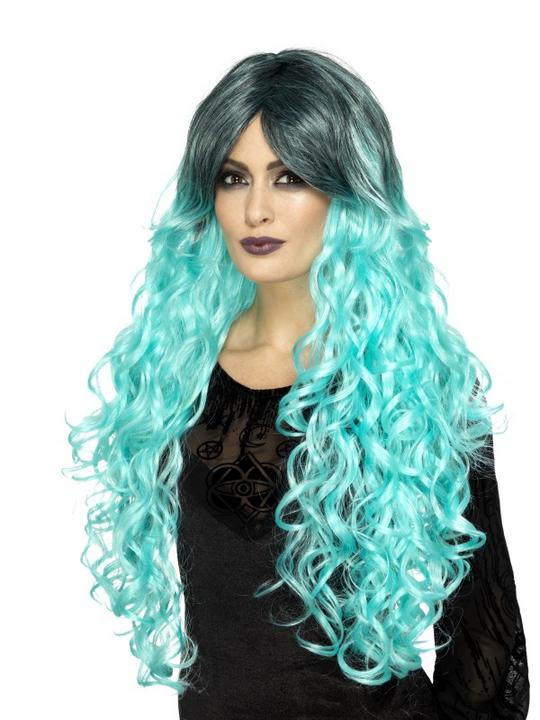 Gothic Glamour Wig, Teal Thumbnail 1