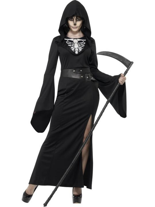 Womens Halloween Lady Reaper Costume Ladies Fancy Dress Outfit Thumbnail 1