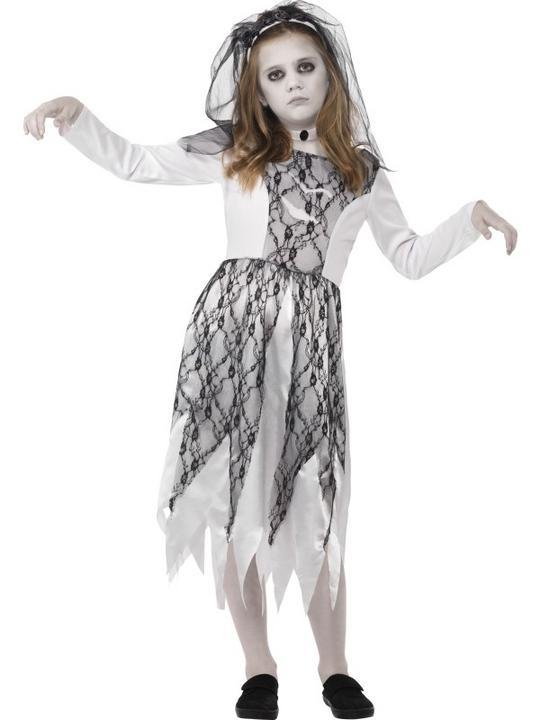 Girls Halloween Ghost Bride Costume Kids Halloween Fancy Dress Outfit Thumbnail 1