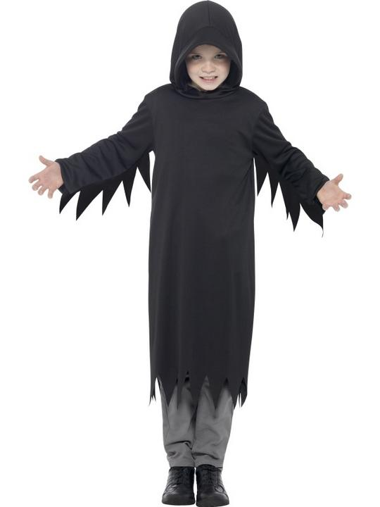 Boys Halloween Dark Reaper Costume Kids Horror Fancy Dress Outfit Thumbnail 1