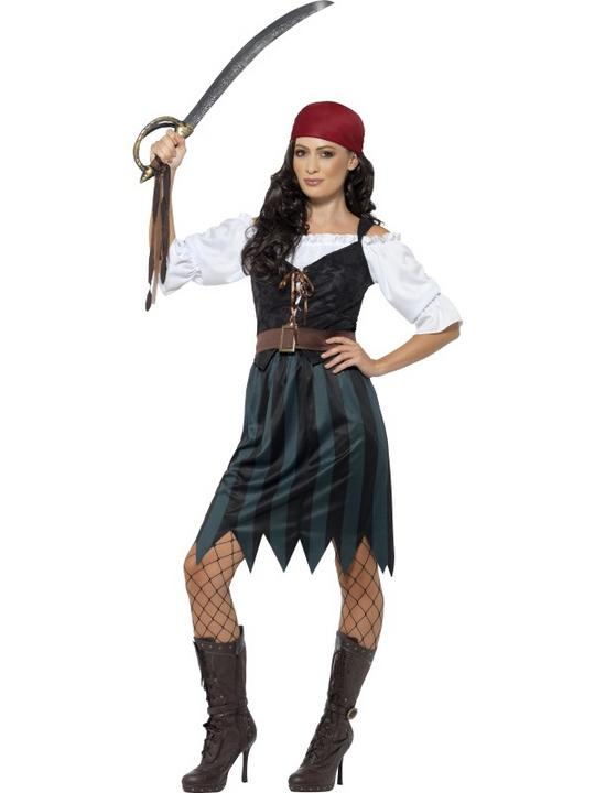 Women's Pirate Deckhand Fanchy Dress Costume Thumbnail 1