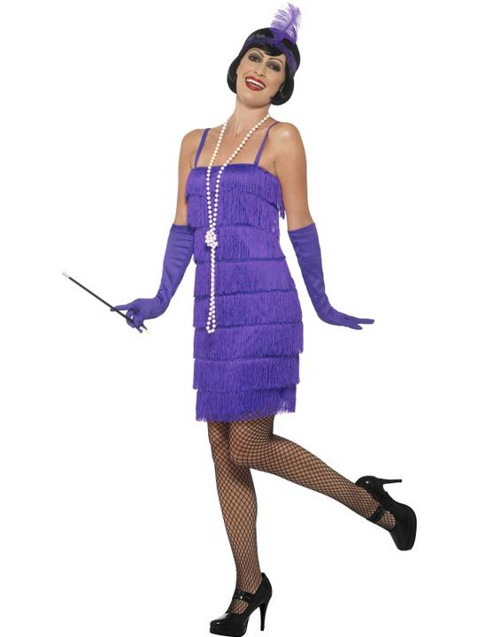 Women's Purple Flapper Fancy Dress Costume Thumbnail 1