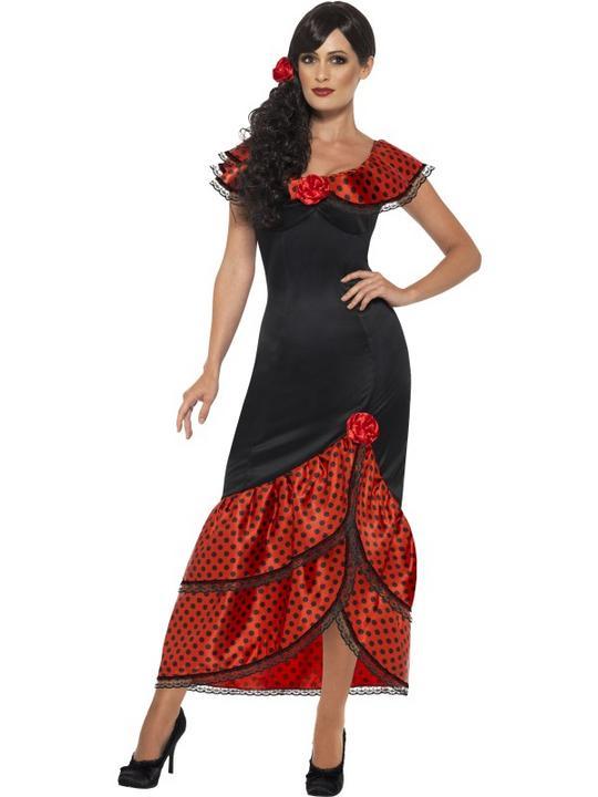 Flamenco Senorita Spanish Costume Womens Fancy Dress Outfit Dressup Party Thumbnail 1