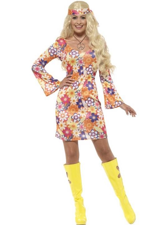 1960s 1970s Flower Groovy Hippy Hippie Costume Womens Fancy Dress Ladies Outfit Thumbnail 1