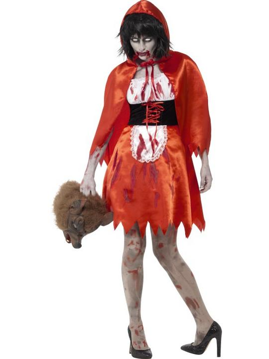 Ladies Halloween Zombie Little Red Riding Hood Costume Womens Fancy Dress Outfit Thumbnail 1
