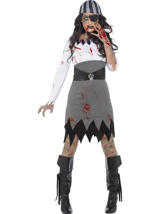 Womens Halloween Zombie Pirate Lady Costume Ladies Fancy Dress Outfit Thumbnail 1