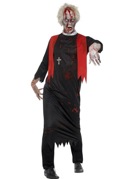 Mens Halloween Horror Zombie High Priest Costume Gents Fancy Dress Outfit Thumbnail 1