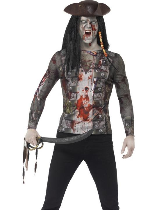 Mens Halloween Zombie Pirate T-Shirt Gents Fancy Dress Tshirt Thumbnail 1