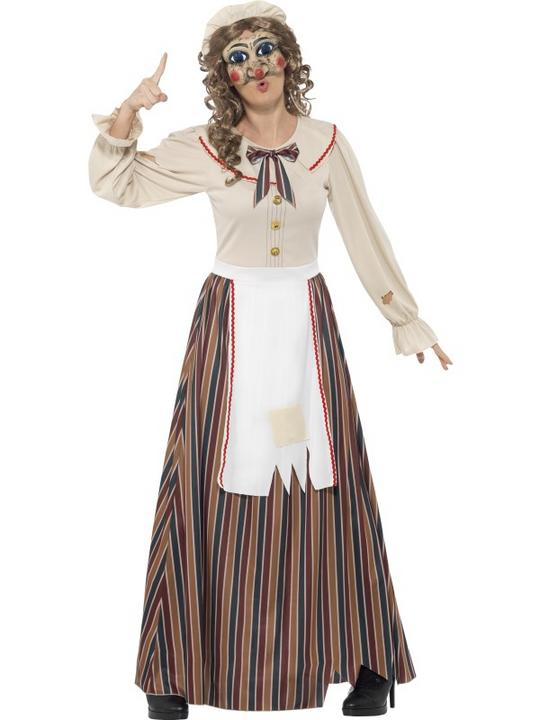 Ladies Halloween Possessed Judy Costume Womens Horror Fancy Dress Outfit Thumbnail 1