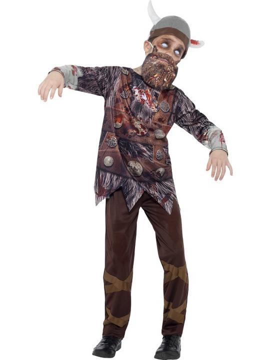 Boys Halloween Deluxe Zombie Viking Costume Kids Horror Fancy Dress Outfit Thumbnail 1