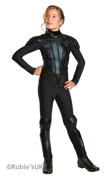 Girl's Katniss Rebel The Hunger Games Fancy Dress Costume Thumbnail 1