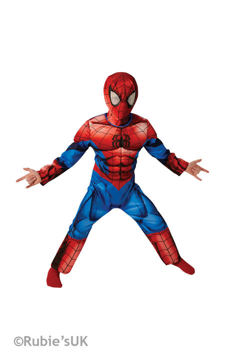 Boy's Deluxe Ultimate Spider-Man Fancy Dress Costume Thumbnail 1