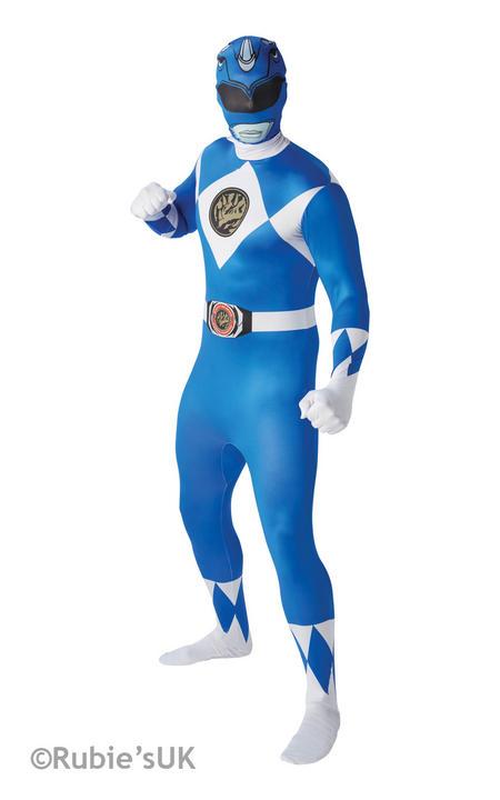 Men's  Blue Ranger 2nd Skin Fancy Dress Costume Thumbnail 1