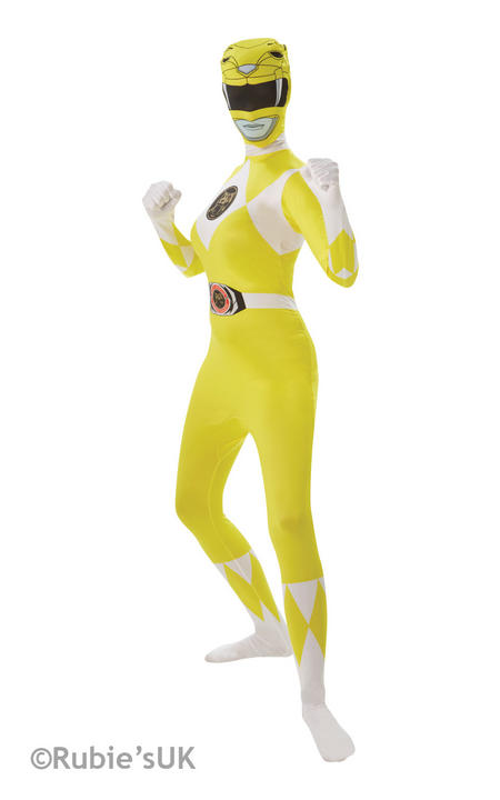 Yellow Ranger Costume Ladies 2nd Skin Power Rangers Fancy Dress Hen Party Outfit Thumbnail 1
