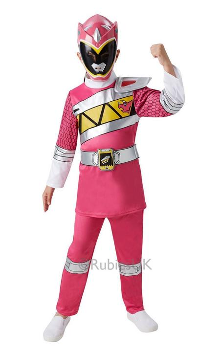 Girl's Dino Charge Pink Ranger Fancy Dress Costume Thumbnail 1