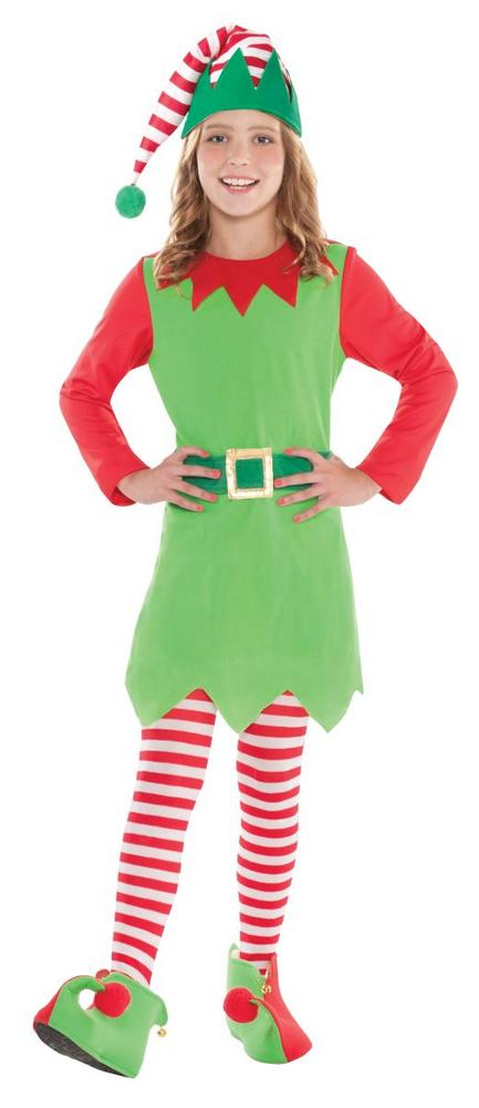 Girl's Merry Elf Fancy Dress Costume