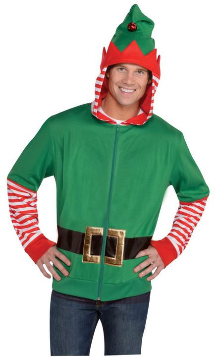Men's Elf Hoodie Fancy Dress Costume Thumbnail 1