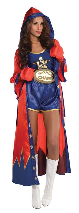 Boxer boxing knockout ring womens Costume Ladies Fancy dress Outfit Dressup Thumbnail 1