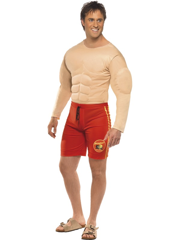 SALE! Adult Licensed TVs Baywatch Lifeguard Mens Fancy Dress Stag Party Costume
