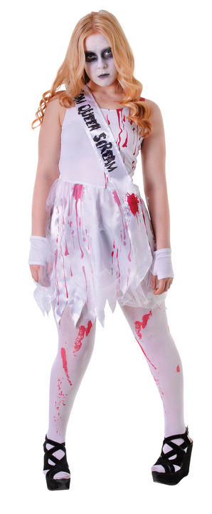 Kids Bloody High School Prom Date Girls Halloween Party Fancy Dress Teen Costume Thumbnail 1