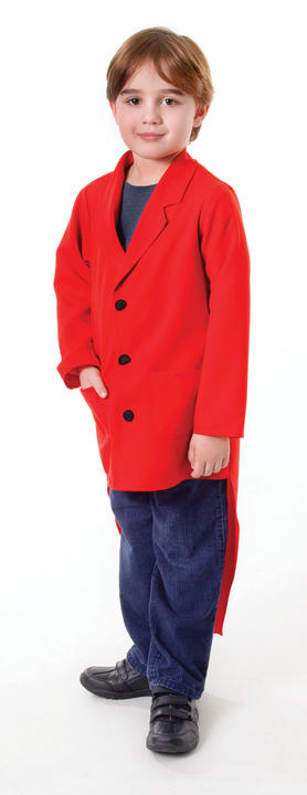 Child Circus Master Red Tailcoat Boys Fancy Dress Kids Costume Outfit Accessory Thumbnail 1