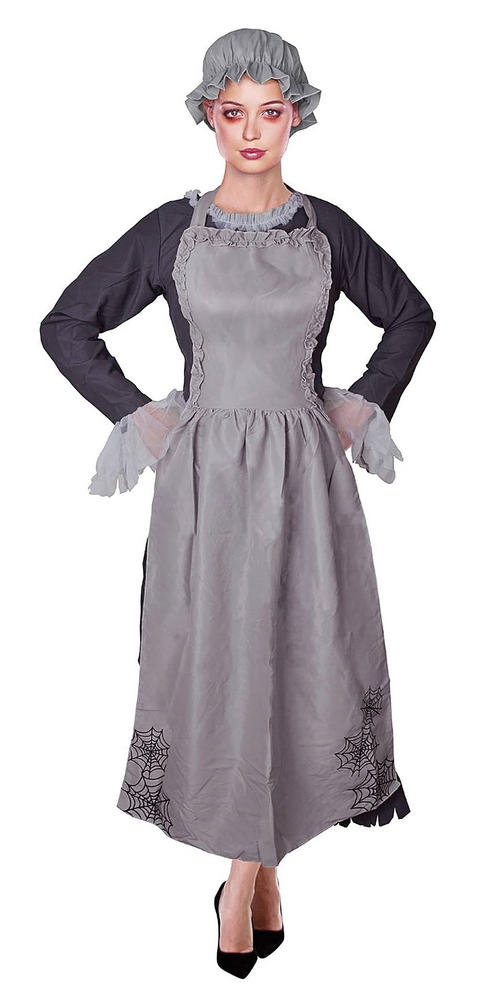 Adult Zombie Freaky Ghost Victorian Maid Ladies Halloween Fancy Dress Costume
