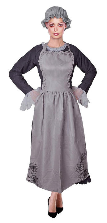 Adult Zombie Freaky Ghost Victorian Maid Ladies Halloween Fancy Dress Costume Thumbnail 1