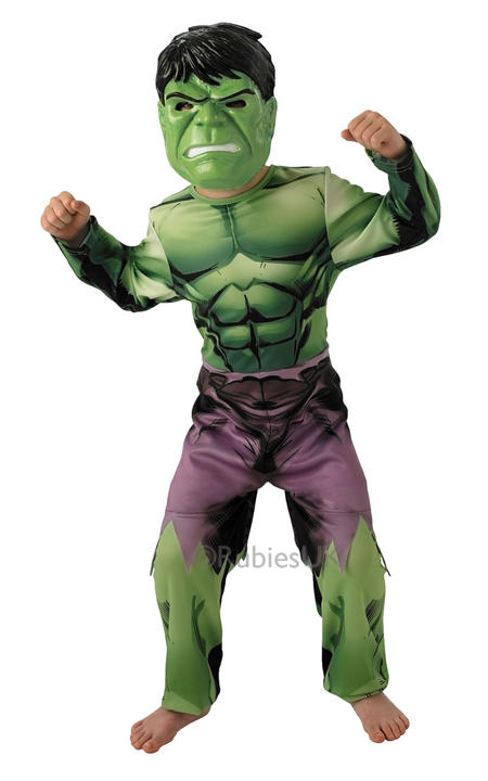 Childrens Licensed Marvel Avengers Superhero Hulk Boys Fancy Dress Kids Costume Thumbnail 1