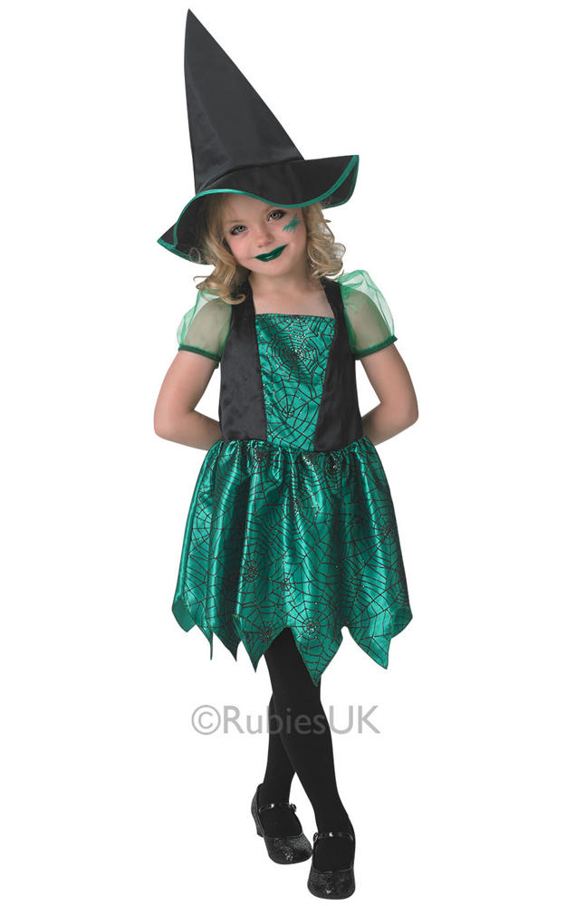 SALE! Child Green Spider Witch Girls Fancy Dress Kids Halloween Party Costume
