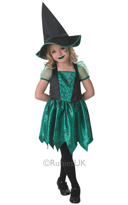 SALE! Child Green Spider Witch Girls Fancy Dress Kids Halloween Party Costume Thumbnail 1