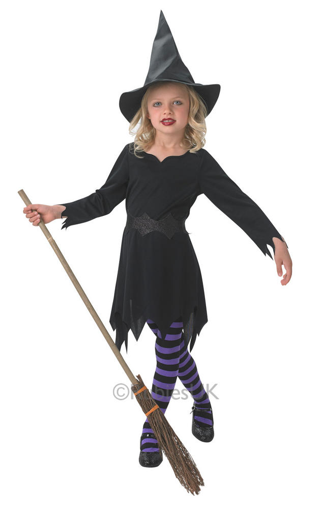 SALE Kids Black Sorceress Witch Girls Halloween Party Fancy Dress Costume Outfit