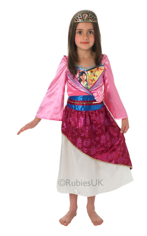 Kids Licensed Disney Princess Shimmer Mulan Girls Fancy Dress Costume Outfit