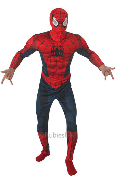 Adult Marvel Superhero Deluxe Spiderman Mens Fancy Dress Costume Party Outfit  Thumbnail 1