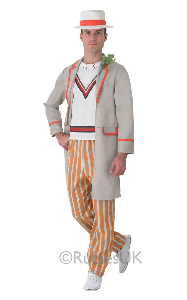 SALE! Adult 5th Doctor Who Peter Davidson Mens Fancy Dress Costume Party Outfit