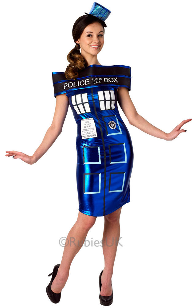 Adult TV Dr Who Police Box Tardis Dress Ladies Fancy Dress Costume Party Outfit