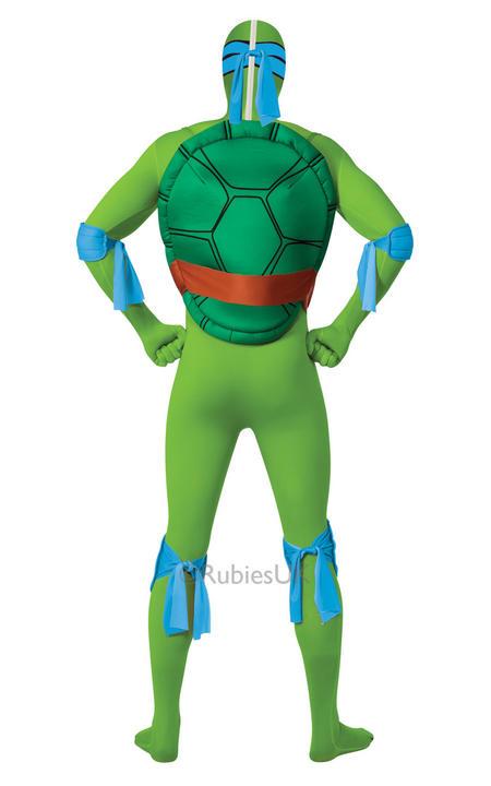 Adult Ninja Turtles Leonardo Costume Mens 2nd Skin TMNT Fancy Dress Outfit Thumbnail 2