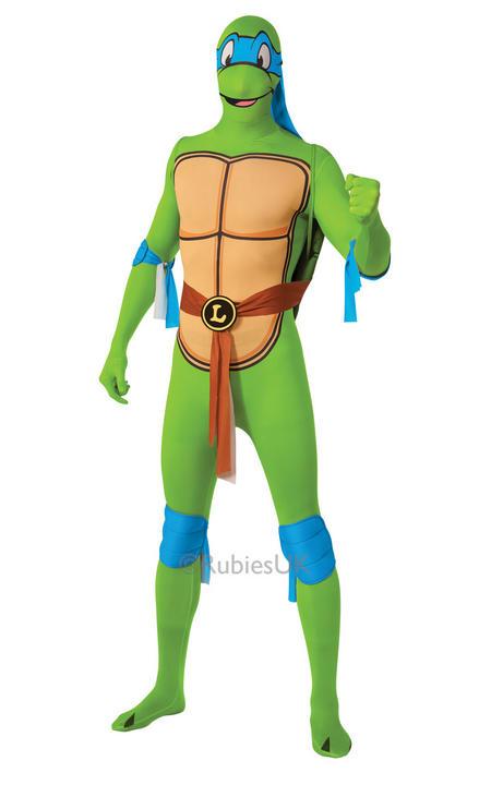 Adult Ninja Turtles Leonardo Costume Mens 2nd Skin TMNT Fancy Dress Outfit Thumbnail 1