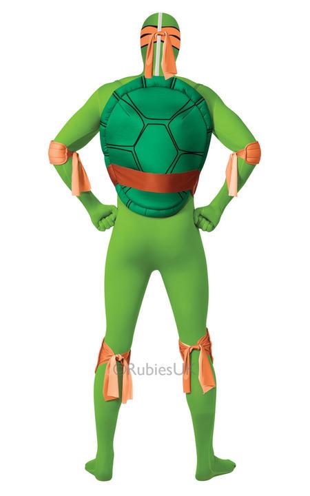 Adult Ninja Turtles Michaelangelo Costume Mens 2nd Skin TMNT Fancy Dress Outfit Thumbnail 2
