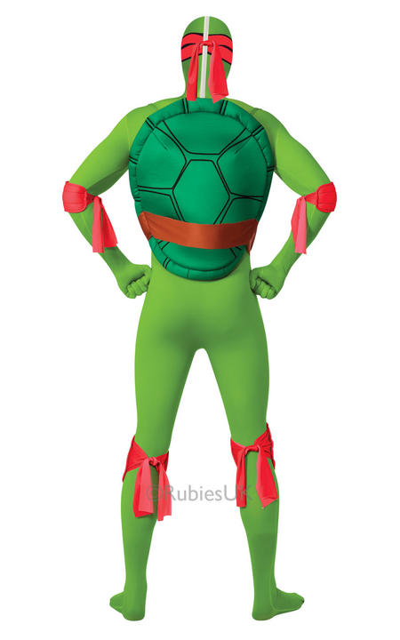 Adult Ninja Turtles Raphael Costume Mens 2nd Skin TMNT Fancy Dress Outfit Thumbnail 2