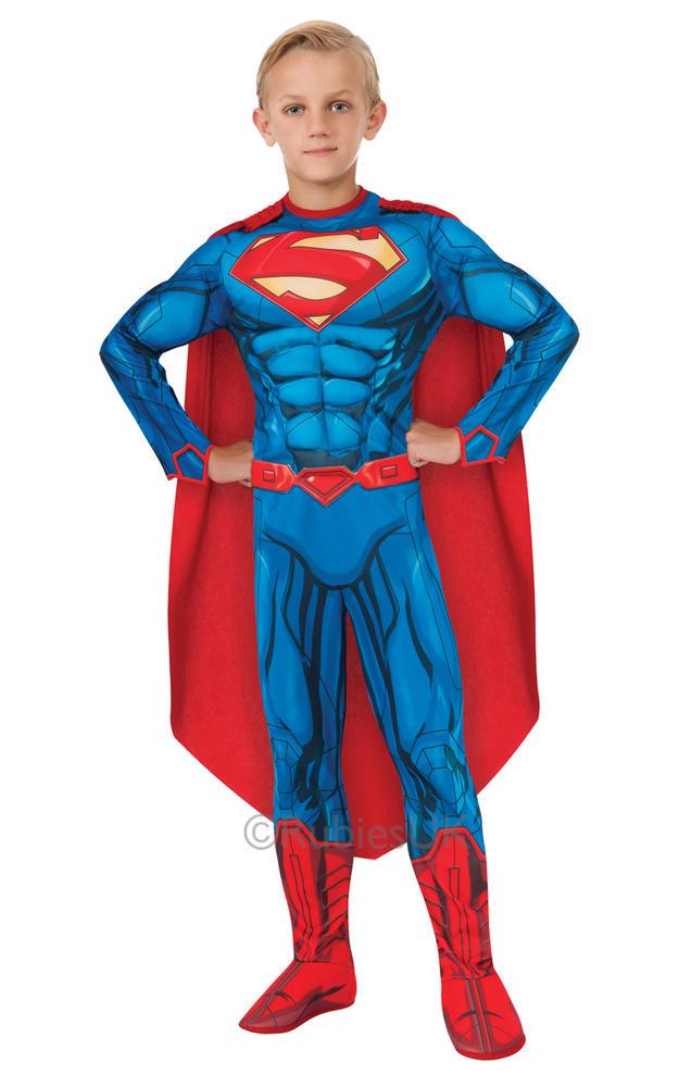 Child Superhero Deluxe Superman Boys Comic Book Week Fancy Dress Kids Costume