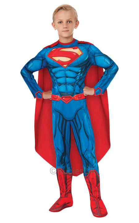 Child Superhero Deluxe Superman Boys Comic Book Week Fancy Dress Kids Costume Thumbnail 1