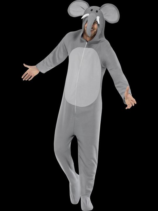 Adults Zoo Animal Elephant Jumpsuit Mens/Ladies Fancy Dress Costume Party Outfit Thumbnail 2