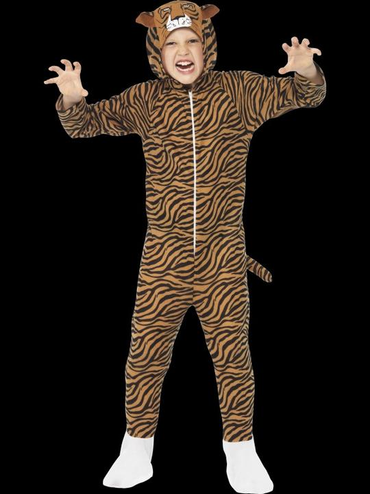 Kids Zoo Animal Tiger Jumpsuit Girls / Boys Fancy Dress Costume Party Outfit Thumbnail 1