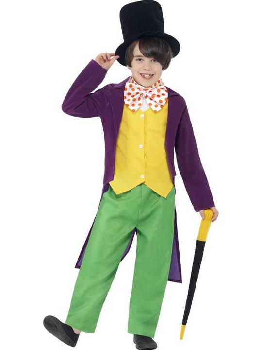 Kids Roald Dahl Chocolate Factory Willy Wonka Boys Book Week Fancy Dress Costume Thumbnail 1