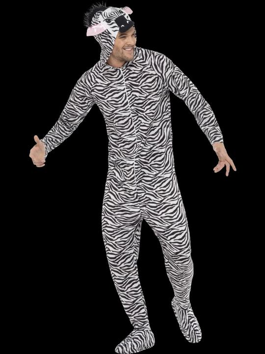 SALE! Adult Zoo Animal Zebra Jumpsuit Fancy Dress Costume Party Outfit Thumbnail 2
